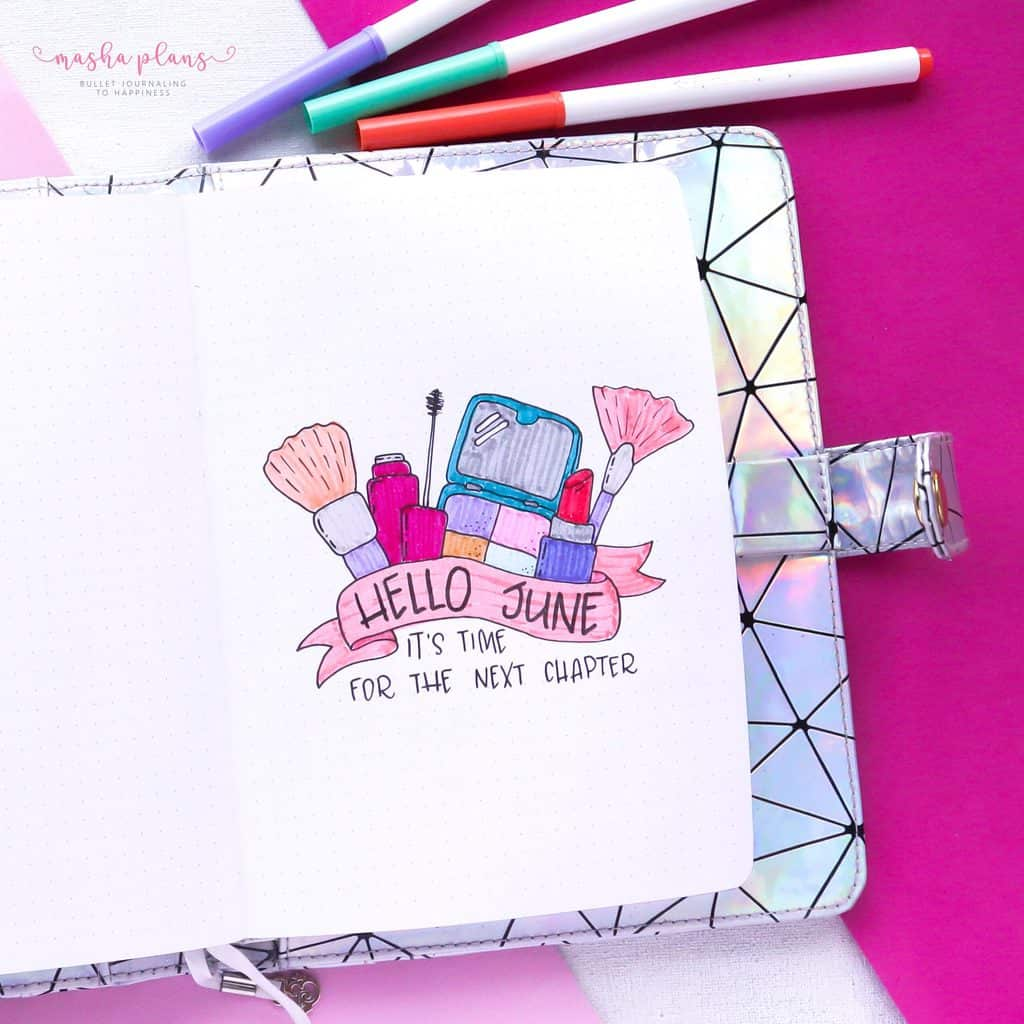 Makeup Bullet Journal Theme Inspirations, cover page | Masha Plans