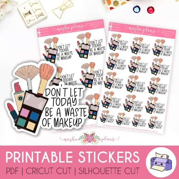 Makeup Bullet Journal Theme Inspirations, makeup stickers | Masha Plans