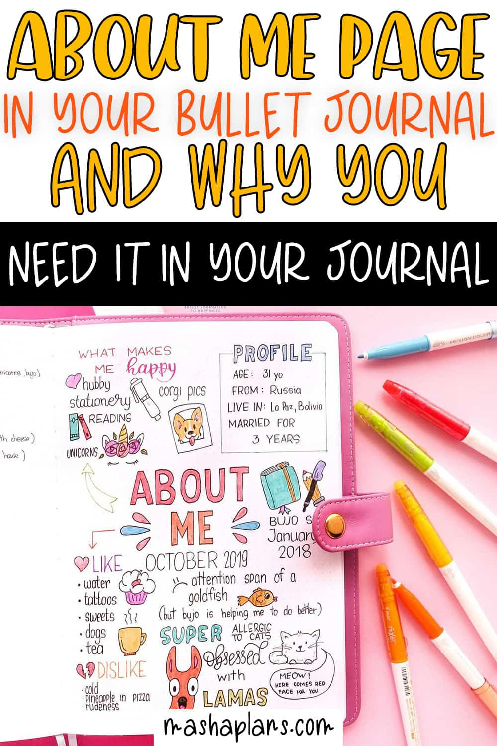 About Me Page In Your Bullet Journal And Why You Need One | Masha Plans