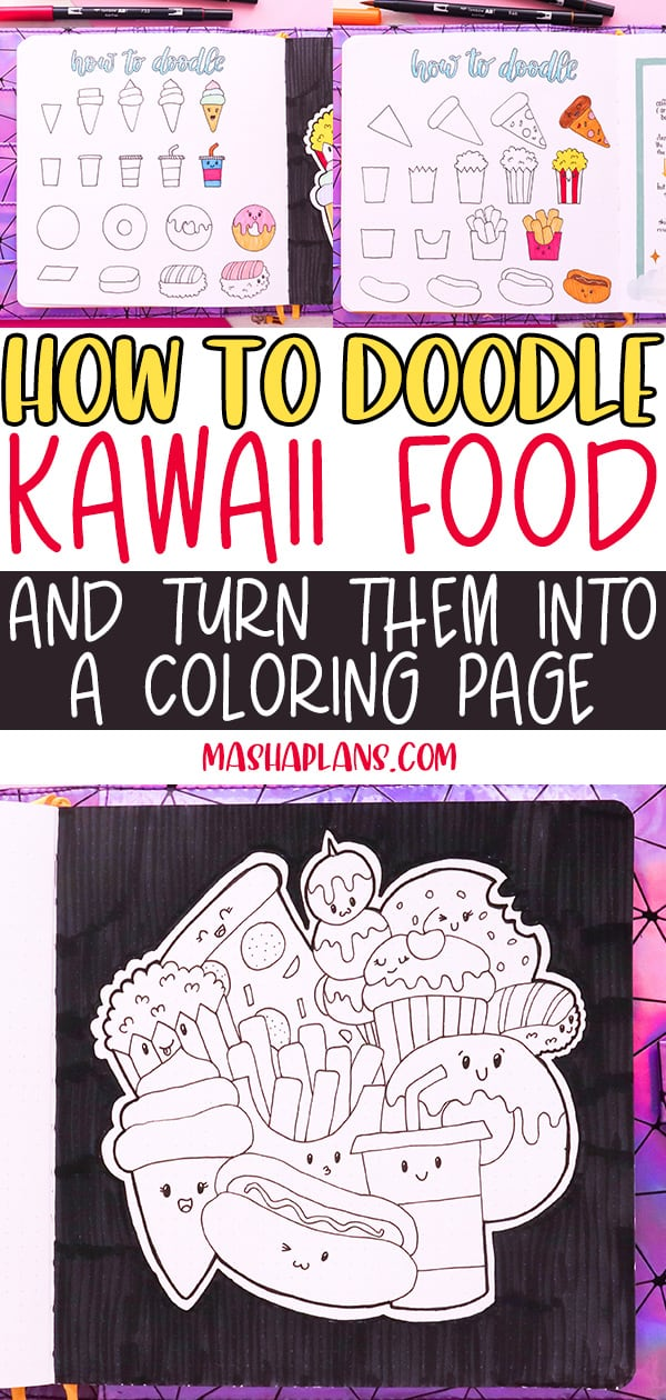 How To: Creating A Coloring Page With Kawaii Food Doodles | Masha Plans