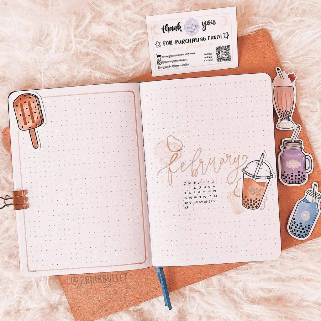Boba Tea Themed Bullet Journal Cover Page by @zainabullet | Masha Plans