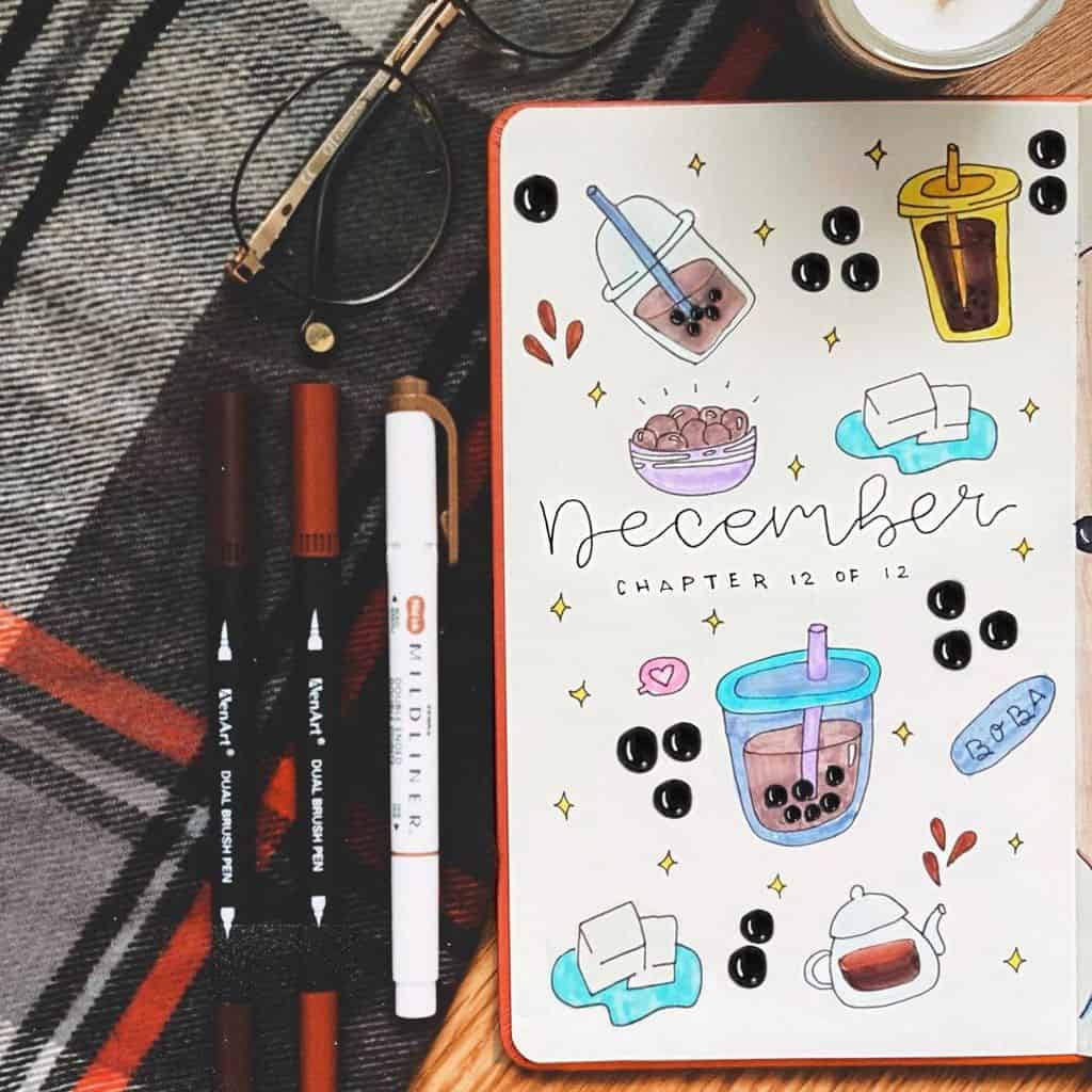 Boba Tea Bullet Journal Cover Page by @ms.bujo | Masha Plans
