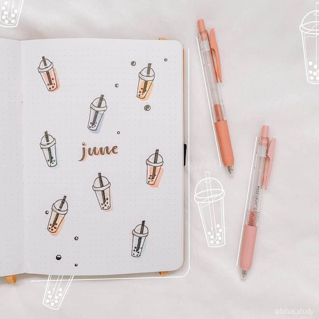 Boba Tea Themed Bullet Journal Cover Page by @lotus_study | Masha Plans
