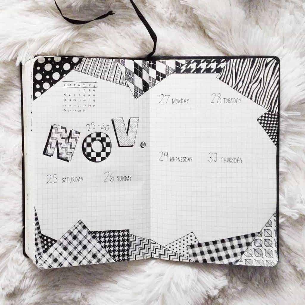 Geometric Bullet Journal Weekly Spread by @shaniseart | Masha Plans