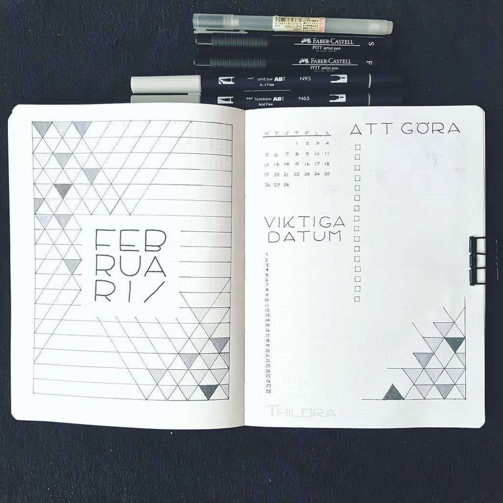 Geometric Bullet Journal Cover Page by @plansbythildra | Masha Plans