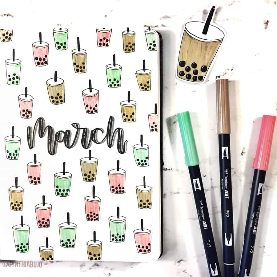Boba Tea Themed Bullet Journal Cover Page by @cynthiabujo | Masha Plans