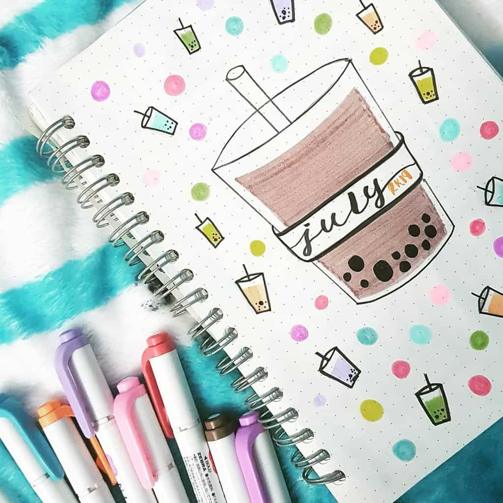Boba Tea Themed Bullet Journal Cover Page by @pisces_bulletjournals | Masha Plans