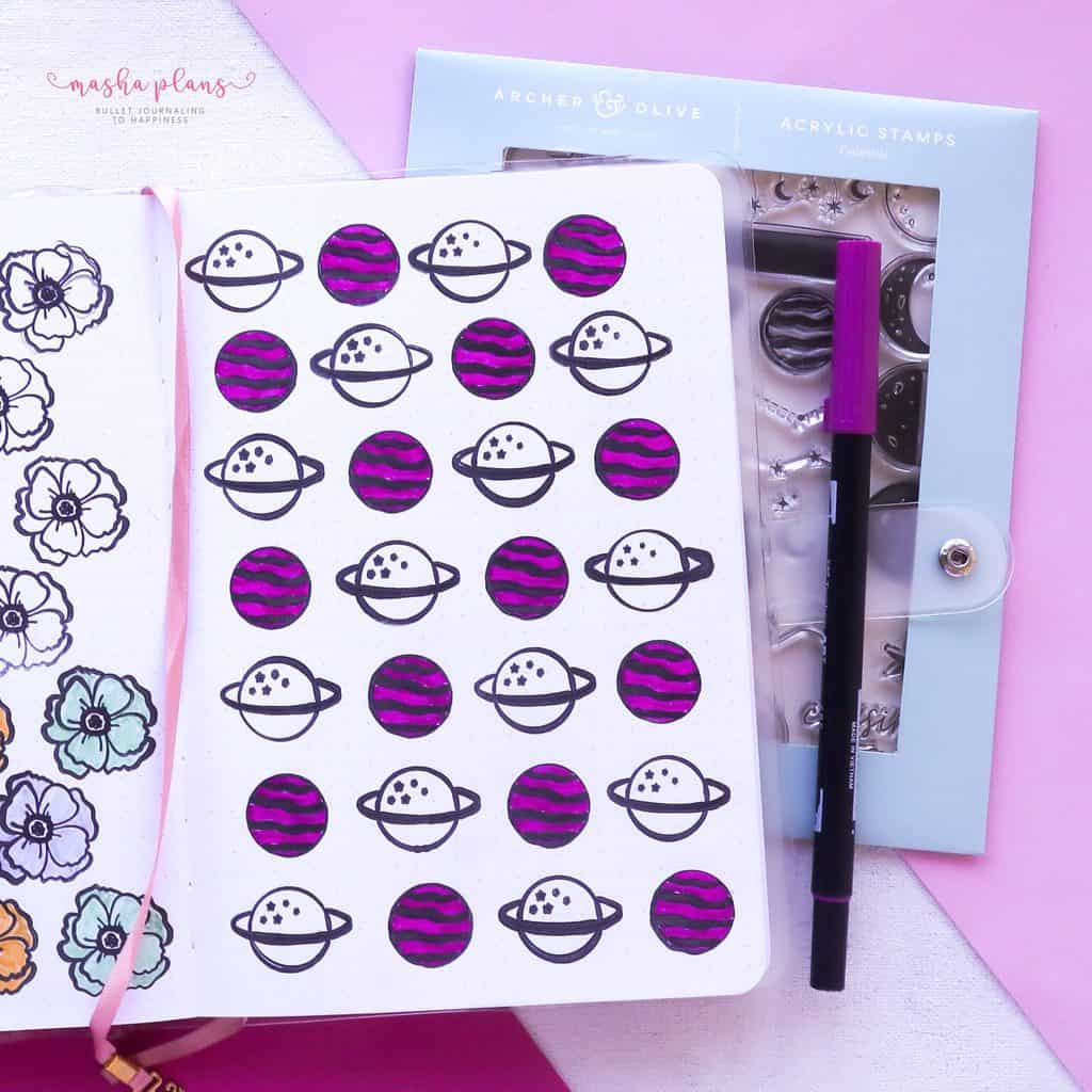 13 Simple Patterns For Your Geometric Bullet Journal Pages, Pattern 13 part 2 | Masha Plans