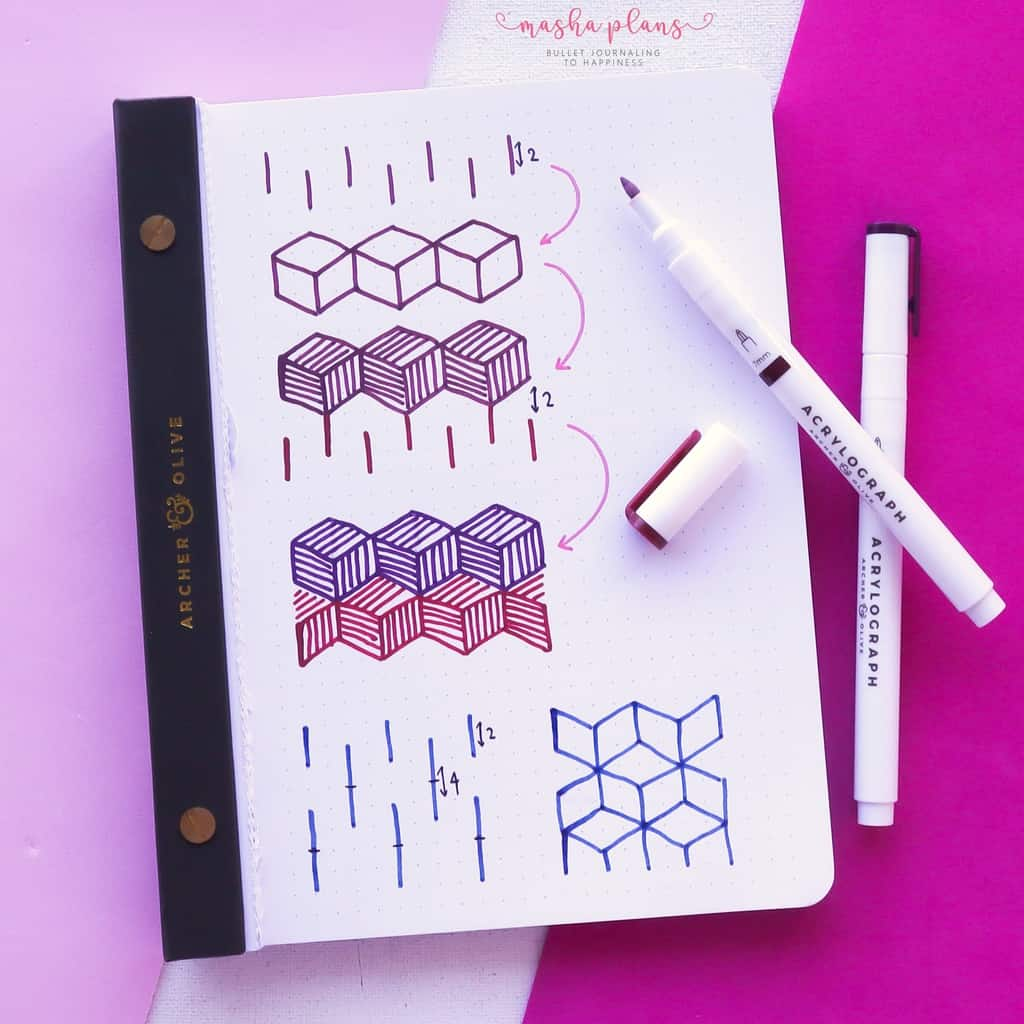 13 Simple Patterns For Your Geometric Bullet Journal Pages, Pattern 7, tutorial | Masha Plans
