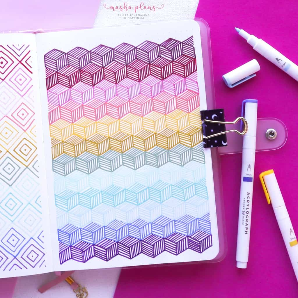 13 Simple Patterns For Your Geometric Bullet Journal Pages, Pattern 7 | Masha Plans