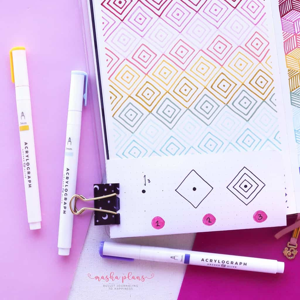 13 Simple Patterns For Your Geometric Bullet Journal Pages, Pattern 6, tutorial | Masha Plans