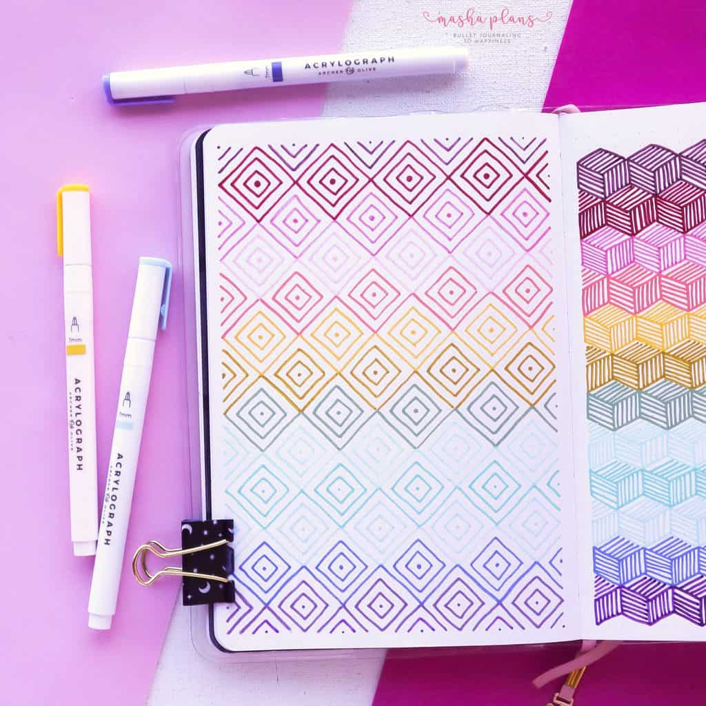 13 Simple Patterns For Your Geometric Bullet Journal Pages, Pattern 6 | Masha Plans