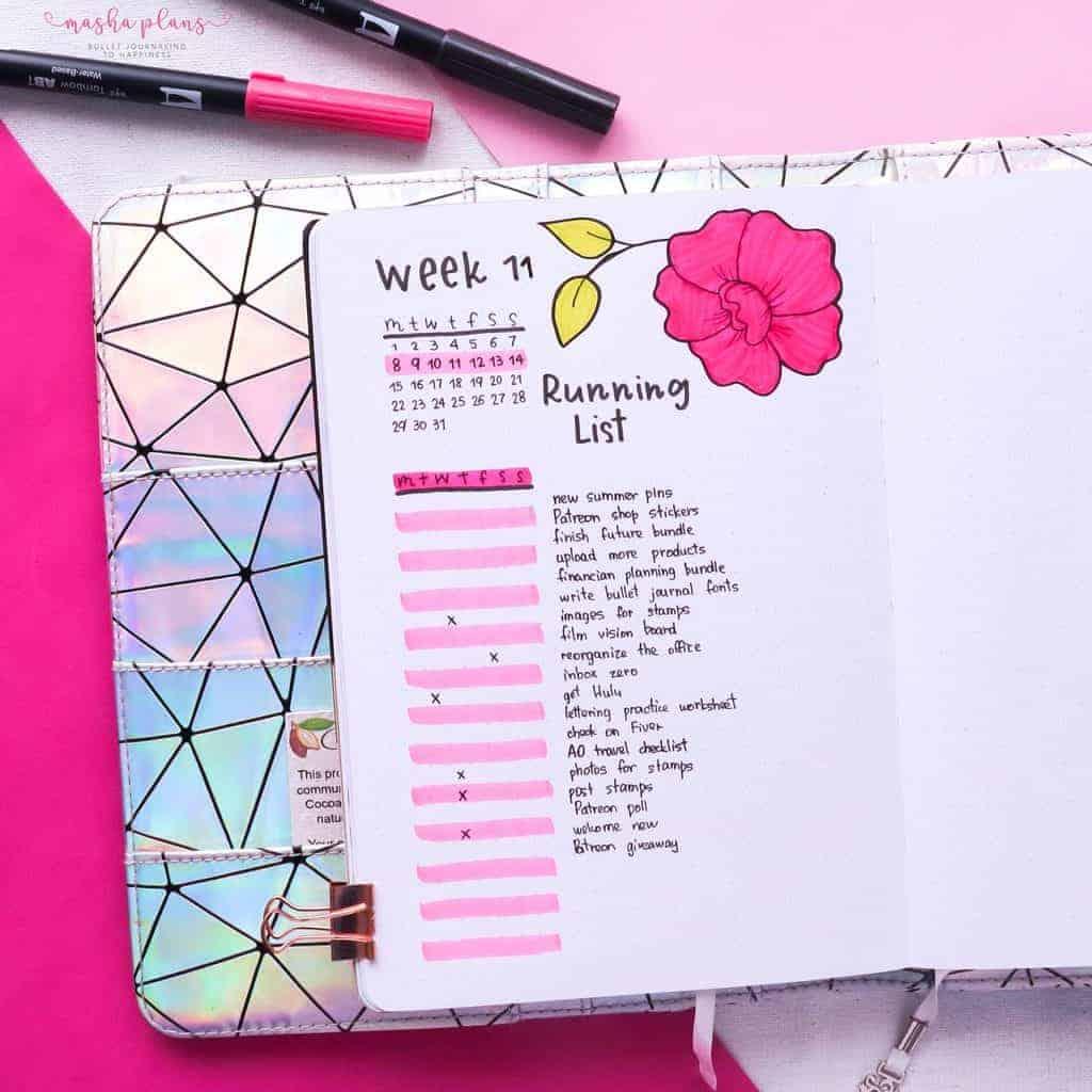 Running To Do List Weekly Spread   Masha Plans