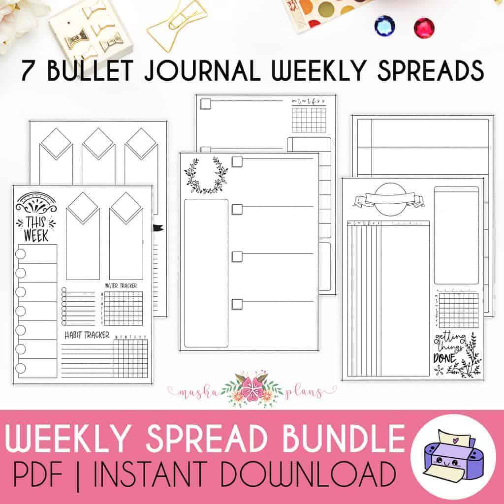7 Printable Bullet Journal Weekly Spreads Bundle | Masha Plans