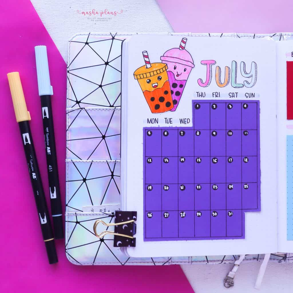 Boba Themed Bullet Journal Setup, monthly log | Masha Plans