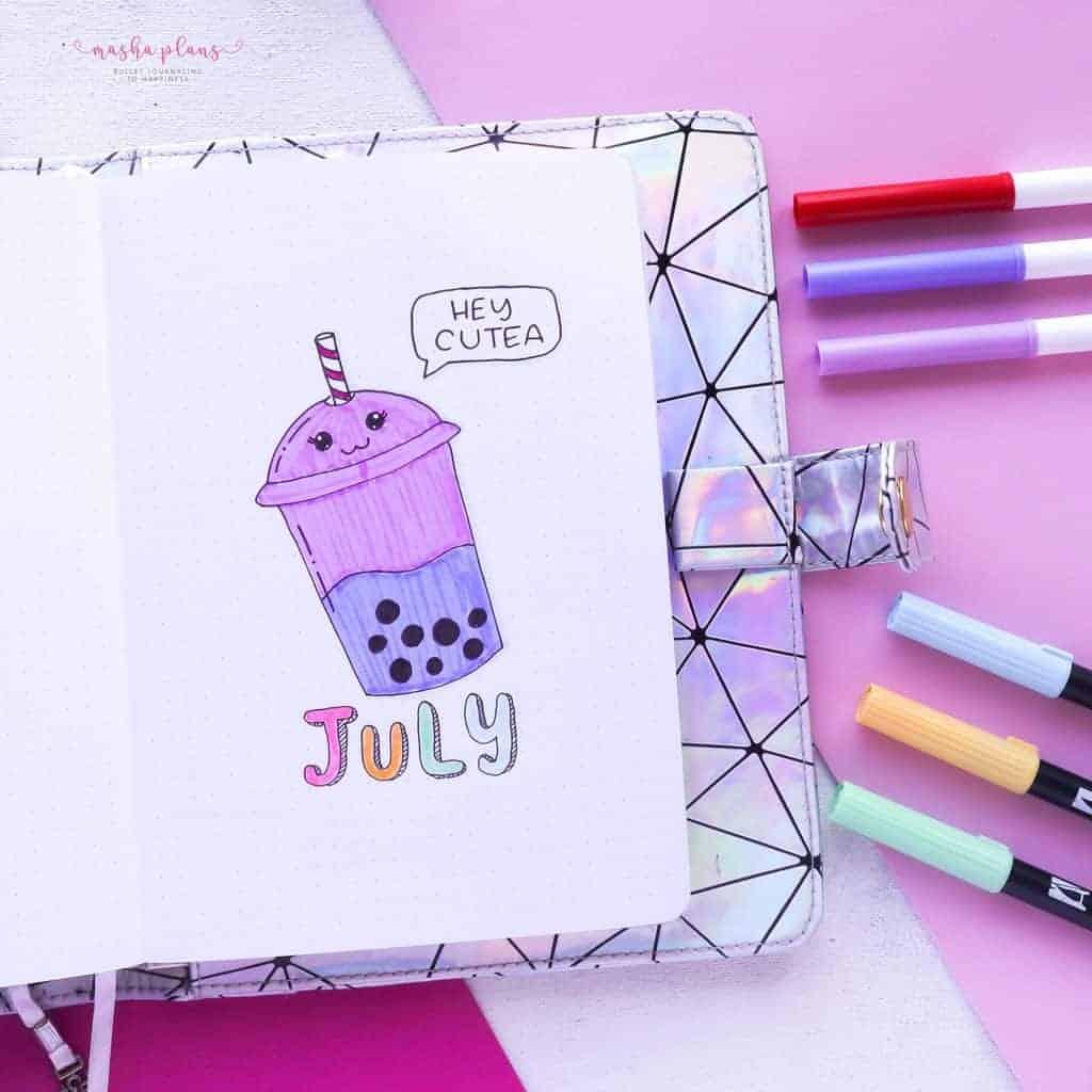 Boba Themed Bullet Journal Setup, cover page | Masha Plans