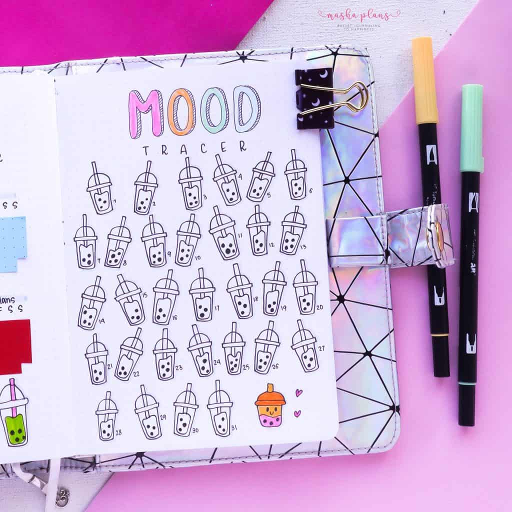Boba Themed Bullet Journal Setup, mood tracker | Masha Plans