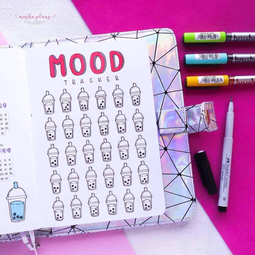 Boba Themed Bullet Journal Setup, mood tracker 2 | Masha Plans