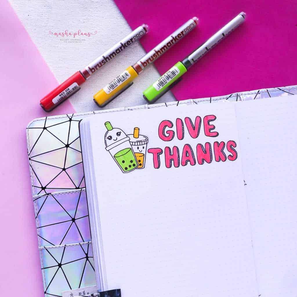 Boba Themed Bullet Journal Setup, gratitude log 2 | Masha Plans