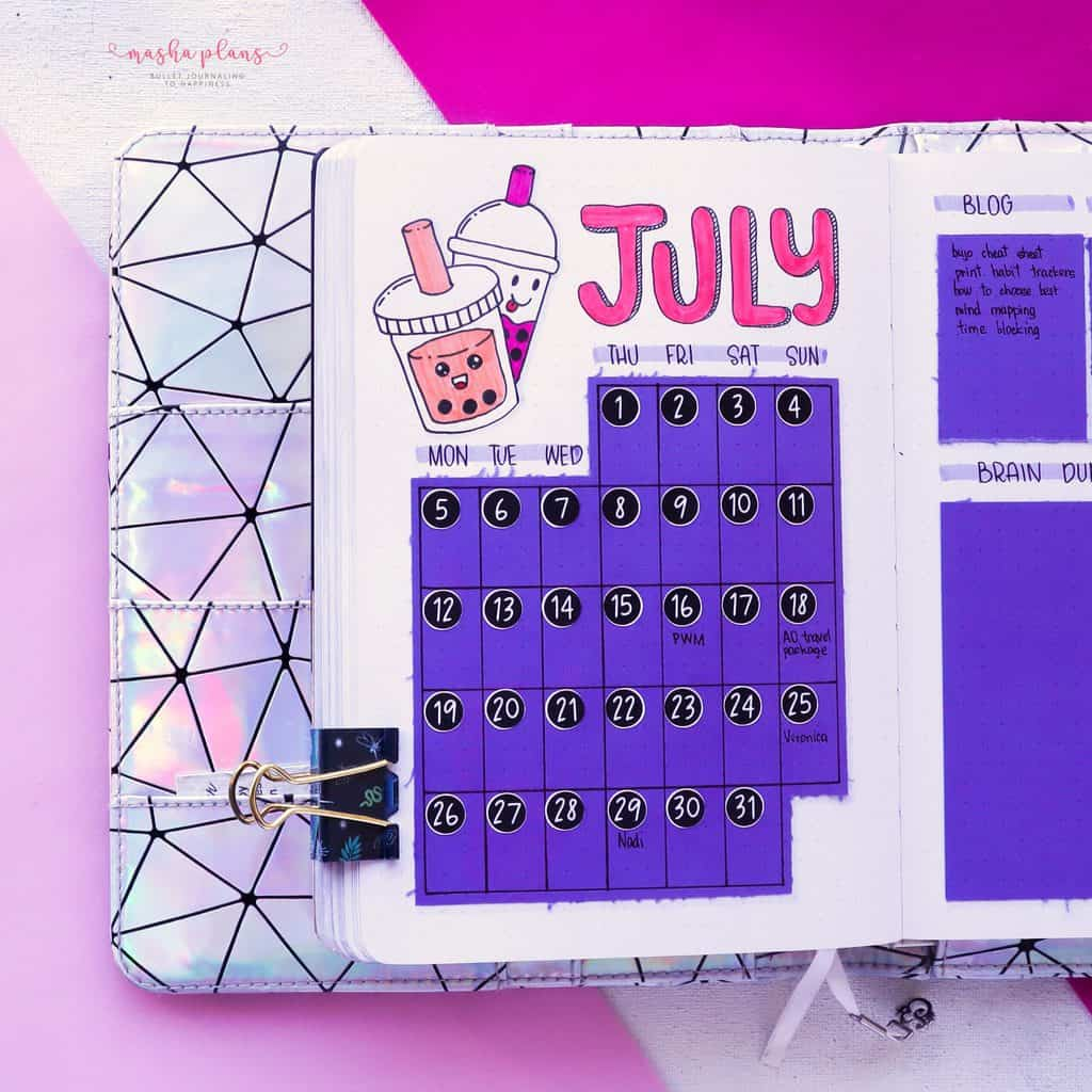 Boba Themed Bullet Journal Setup, monthly log 2 | Masha Plans
