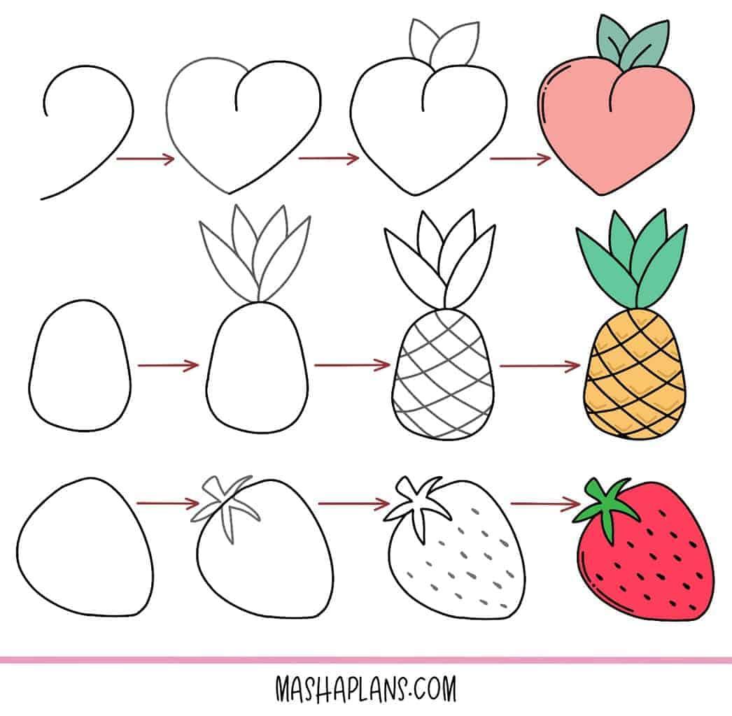 17 Easy Doodles To Draw In Your Bullet Journal, fruit doodles | Masha Plans