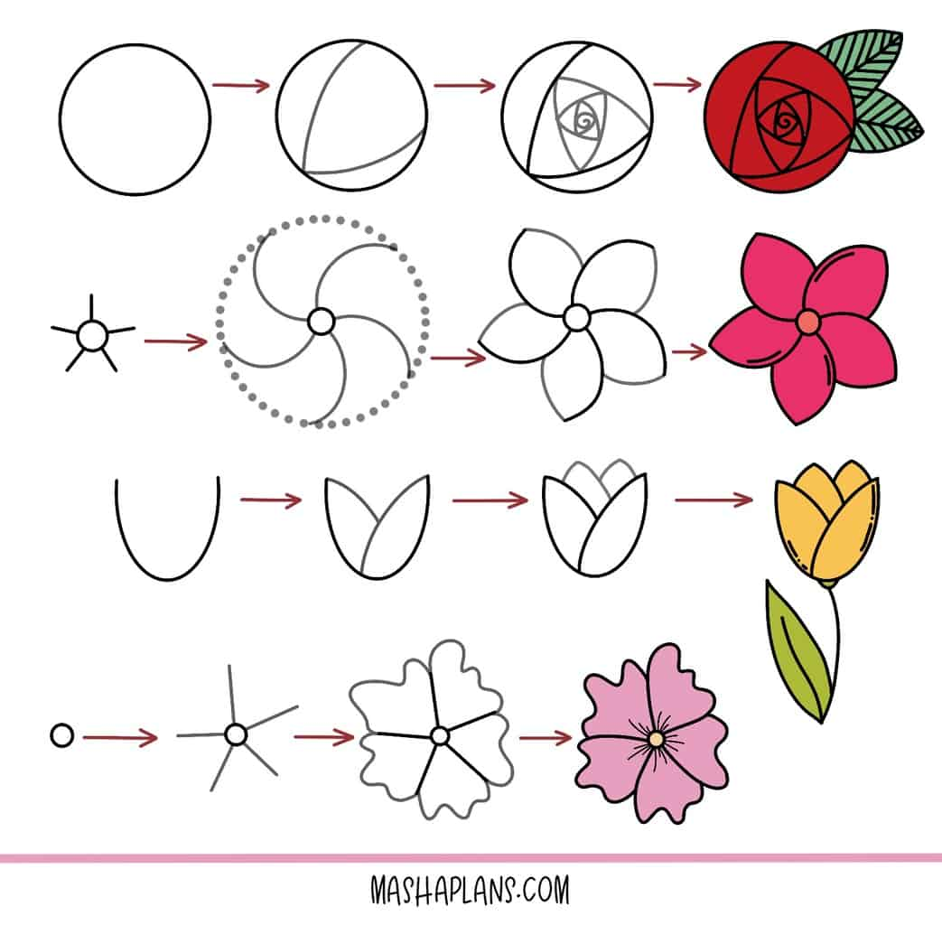 17 Easy Doodles To Draw In Your Bullet Journal, flower doodles | Masha Plans