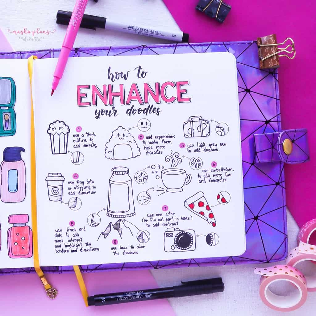 How To Enhance Your Bullet Journal Doodles | Masha Plans