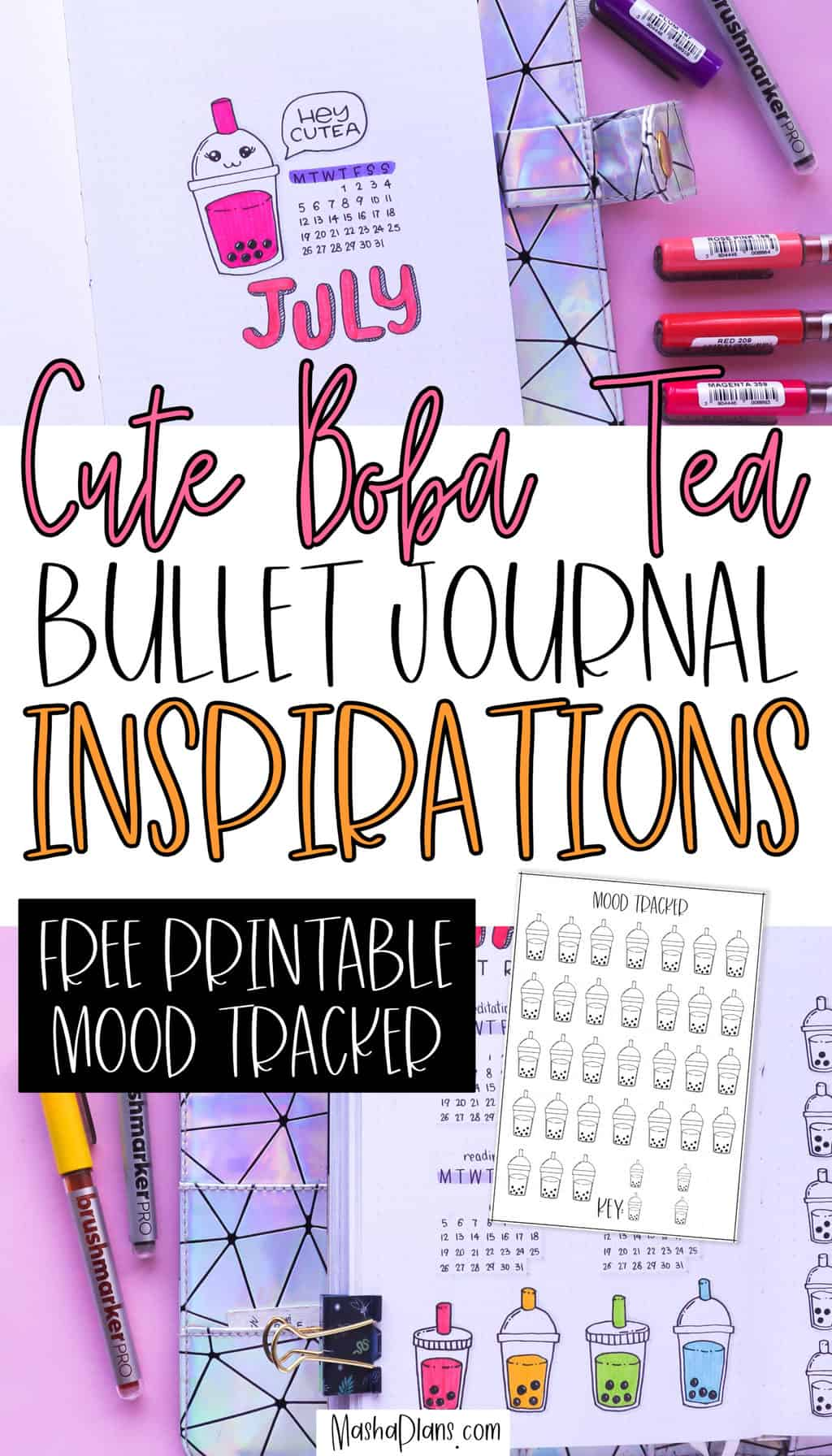 Bubble (Boba) Tea Bullet Journal Theme Inspirations | Masha Plans