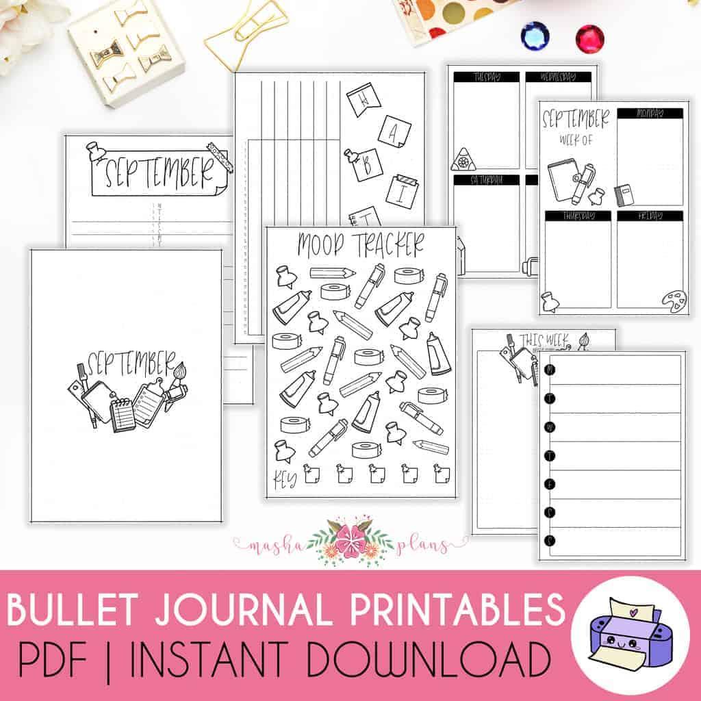 Printable September Bullet Journal Setup | Masha Plans