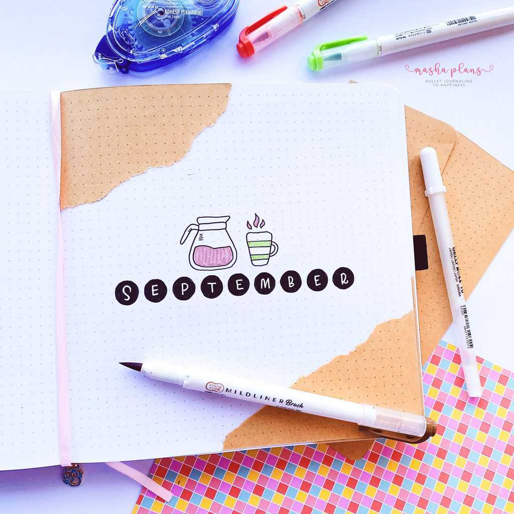 Bullet Journal Cover Page, coffee theme | Masha Plans
