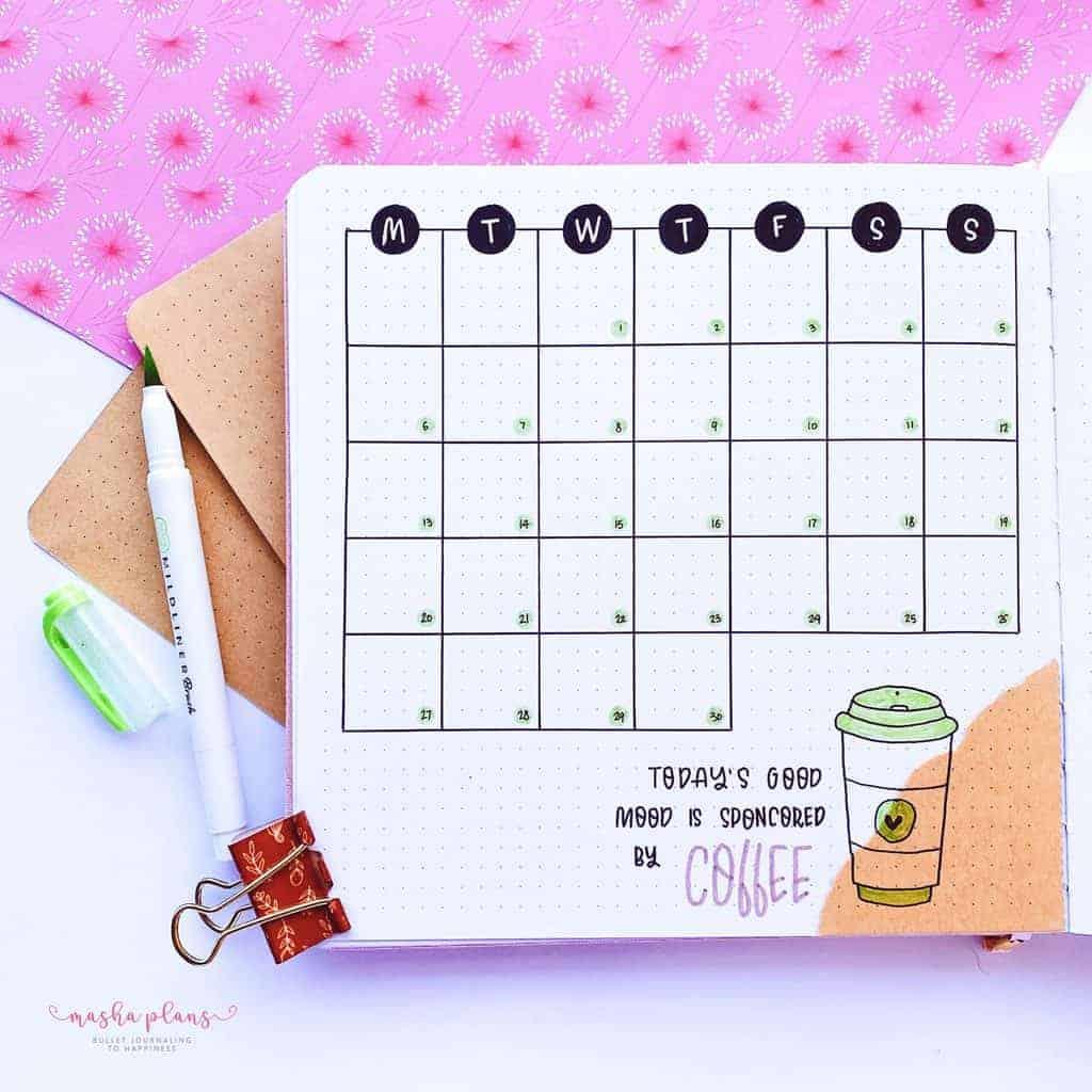 Coffee Bullet Journal Setup, monthly log | Masha Plans