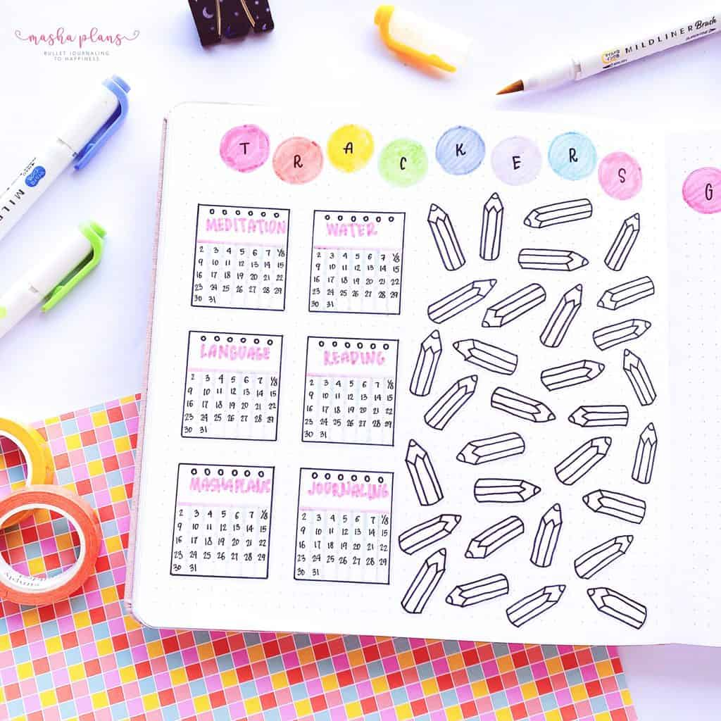 2021 August Bullet Journal Setup, habit tracker and mood tracker | Masha Plans