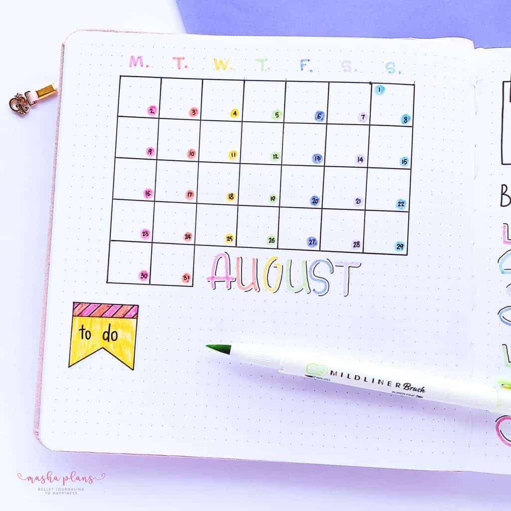 August 2021 Bullet Journal Setup, monthly log | Masha Plans