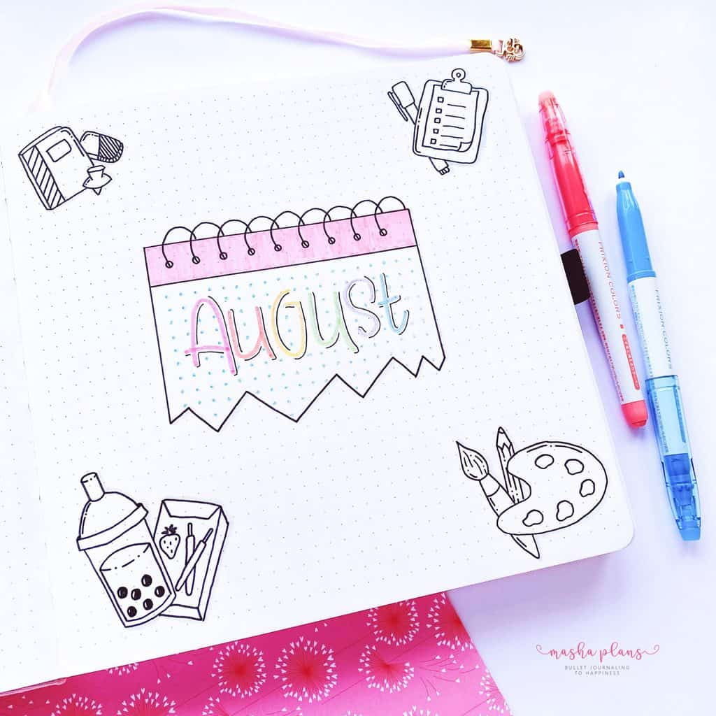 August 2021 Bullet Journal Setup, cover page | Masha Plans