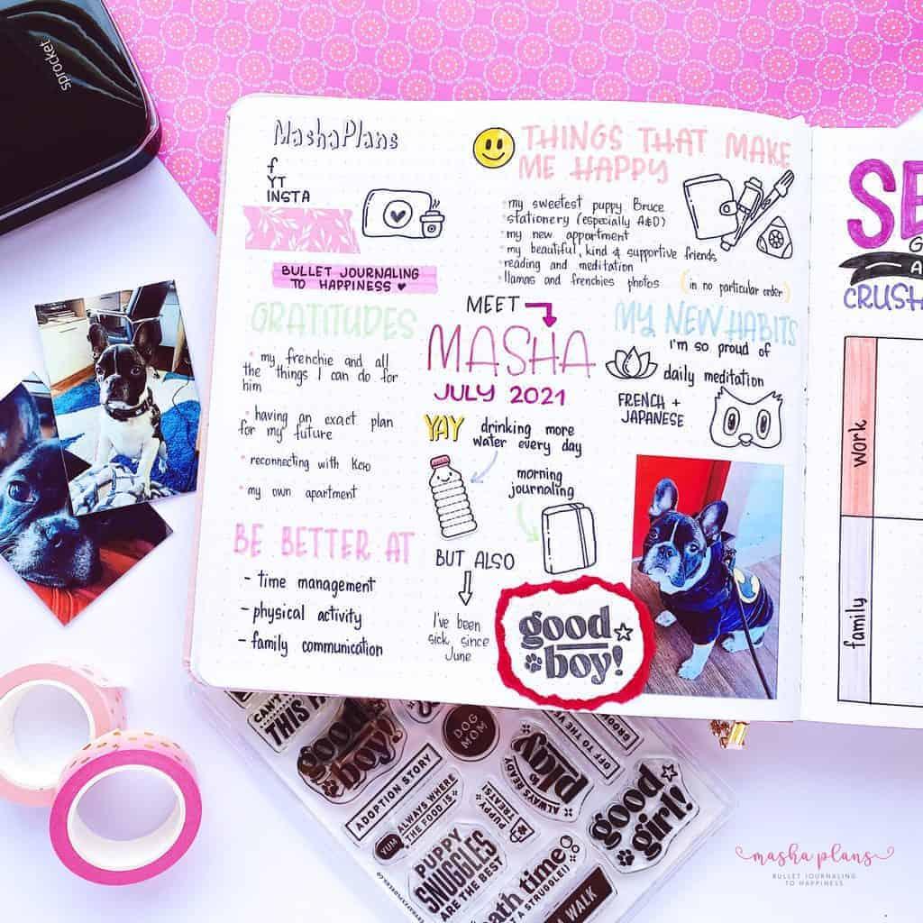 2021-2022 Bullet Journal Setup, about me page | Masha Plans