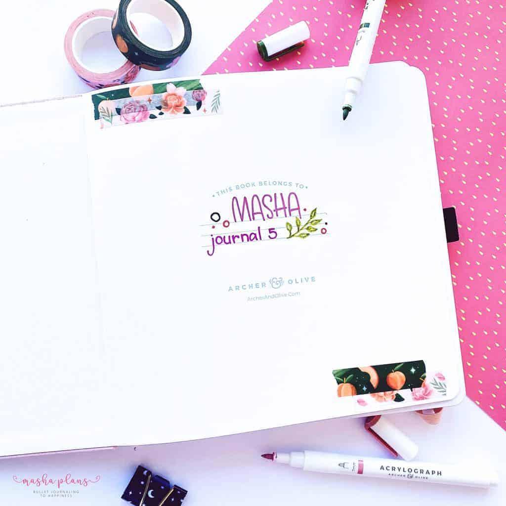 2021-2022 Bullet Journal Setup, this books belongs to spread | Masha Plans