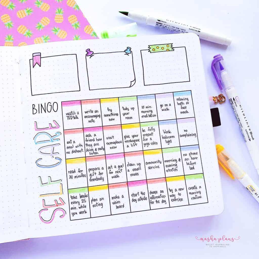 2021 Bullet Journal Setup, self care bingo | Masha Plans