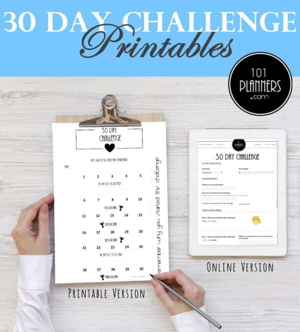 30 Day Challenges Tracker By 101 Planners | Masha Plans