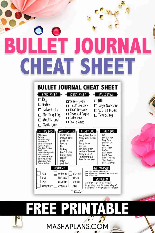 Bullet Journal Cheat Sheet For Beginners | Masha Plans