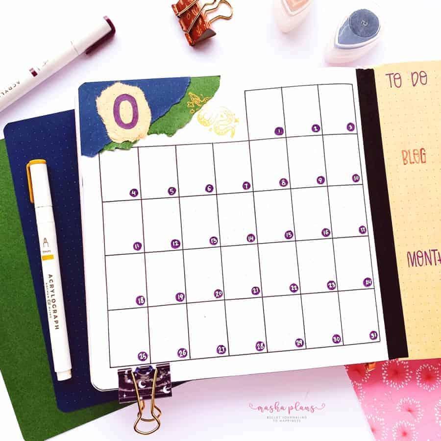 2021 October Bullet Journal Setup, monthly log | Masha Plans