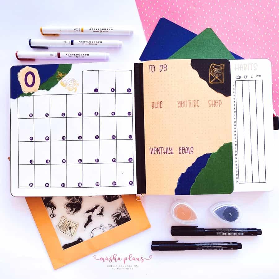 October 2021 Bullet Journal Setup, monthly overview | Masha Plans